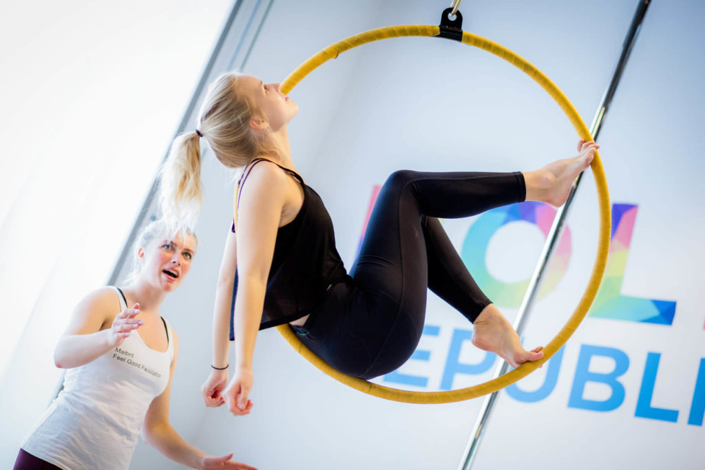 aerial hoop girl and instructor