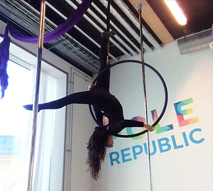 andrea hanging in an aerial hoop